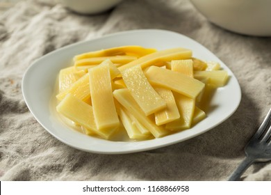 Raw Canned Bamboo Shoots on a Plate