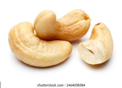 Raw cashew nuts isolated on white background