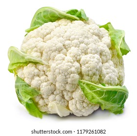 Raw cauliflower, whole vegetable. Fresh cauliflower, isolated on white background.