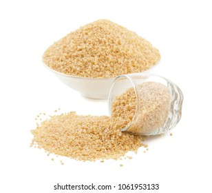 Raw Cereal Food Also Know as Bulgur, Dalia or Daliya Isolated on White Background