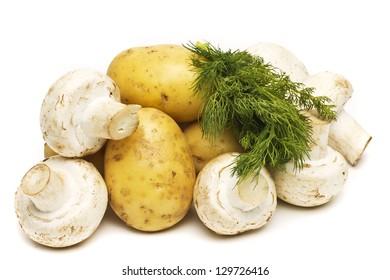raw champignon with potato