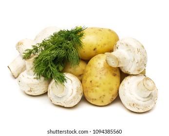 raw champignon with potato isolated