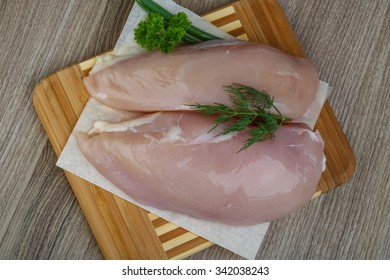 Raw chicken breast with green onion and parsley