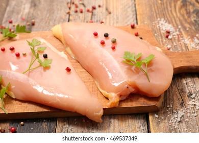 raw chicken breast on board