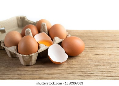 Raw chicken eggs organic food for good health high protein on rustic wooden isolated on white background