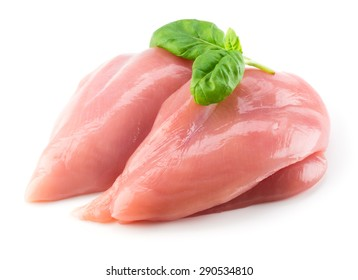 Raw chicken fillet with basil isolated on white