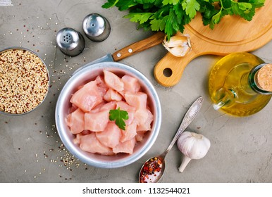 raw chicken fillet, chicken fillet in bowl