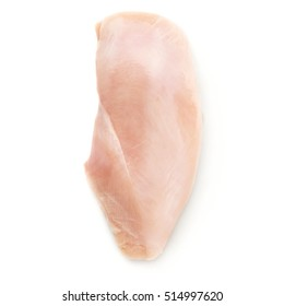 Raw chicken fillet breast isolated over white background
