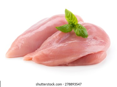 Raw chicken fillets close up isolated on white