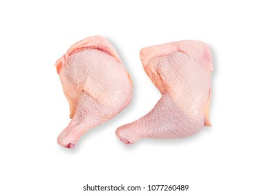 Raw chicken legs isolated on white background.