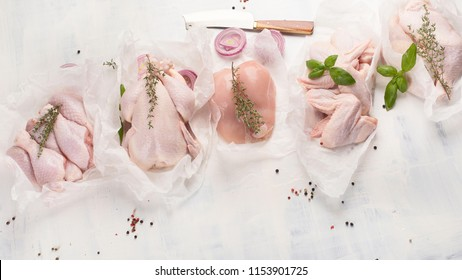 Raw chicken meat. Top view. Healthy diet food