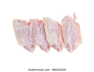 Raw chicken  on cutting board on white background