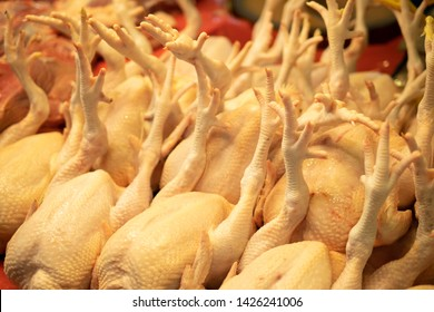 Raw chickens in fresh market