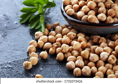 Raw Chickpeas in a bowl. Chickpeas is nutritious food. Healthy and natural vegetarian food