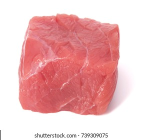 Raw chopped beef meat cube isolated om white background cut out.