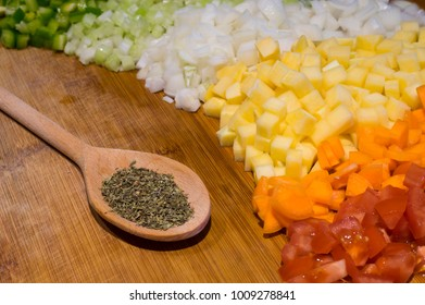 Raw chopped vegetables prepeared as ingredients for a soup