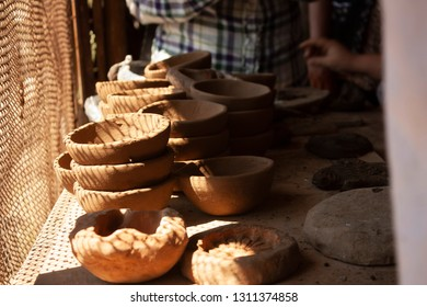 Raw clay pots crafts from a state of Mexico