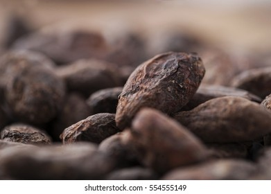Raw cocoa beans close up