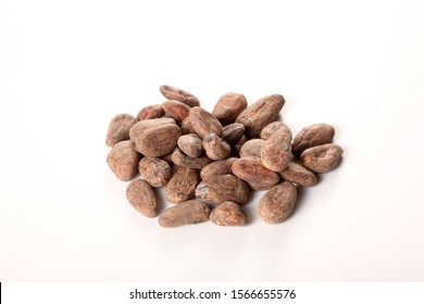 raw cocoa beans isolated on white background with copy space for your text