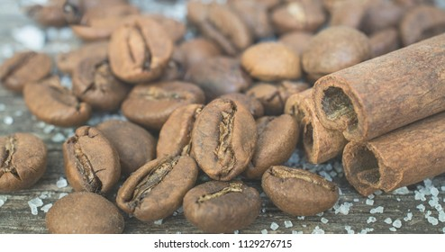 Raw coffee beans. Grained product. Hot drink.