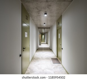 Raw concrete in a modern interior. Entrance hall and corridor in a modern house.