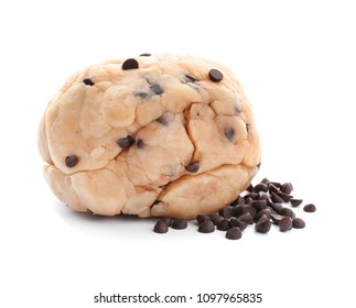Raw cookie dough with chocolate chips on white background
