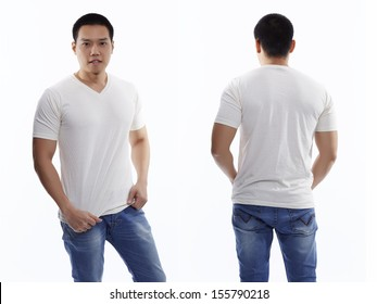 Raw cotton t-shirt on a young man isolated front and back-Studio Shot