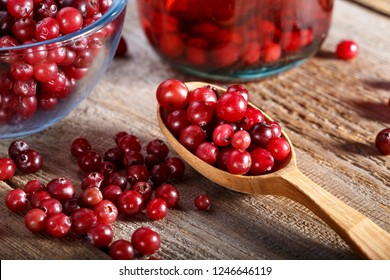 raw cranberries on the table
