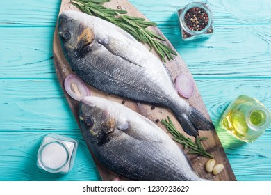 Raw dorado fish and ingridient for cooking. Sea food