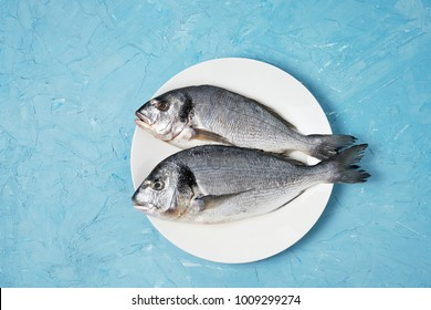 Raw dorado fish in white plate on blue background. Top view, copy space