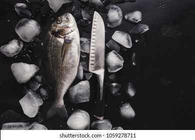 Raw dorado with ice and knife on black background. Minimalistic mockup for seafood restaurant or fish market. Top view, copy space