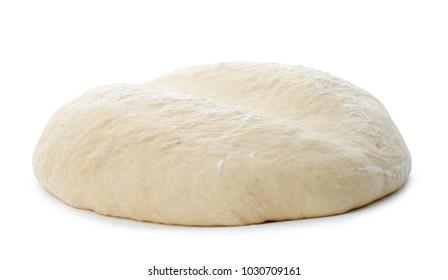 Raw dough on white background