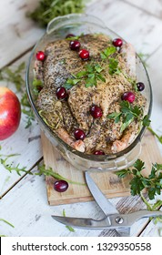 raw duck and apples
