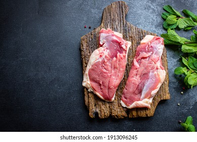 raw duck breast meat poultry and spices barbecue grill fresh portion on the table meal snack top view copy space for text food background rustic image