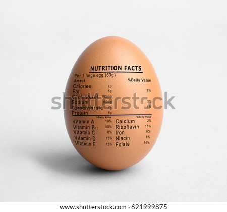 Raw egg and list of nutrition facts on white background