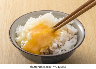 Raw egg on rice