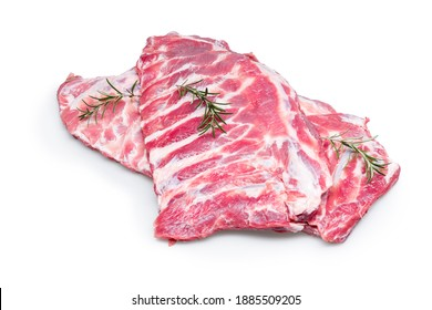 Raw fesh spare ribs isolated on white background