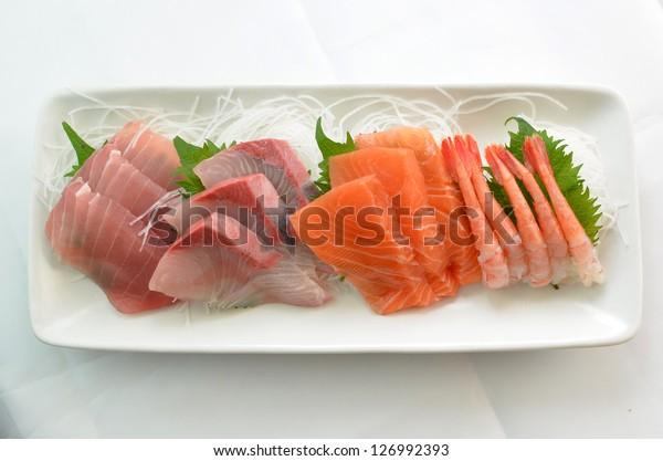 Raw fish called Sashimi.