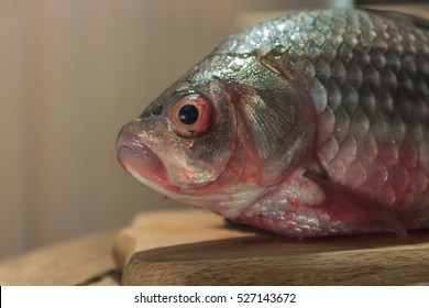 Raw fish carp on a kitchen cutting Board. Fish with red eyes. Fish head. A place for a label.