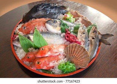 raw fish on tray