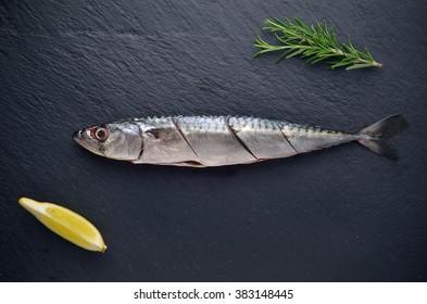 Raw fish with rosemary and lemon on dark bacground .