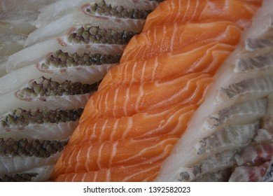 raw fish, the salmon and flatfish sashimi