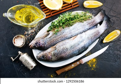 raw  fish with salt and aroma pepper spice