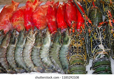 Raw Fish, Shrimp and Lobster on Ice