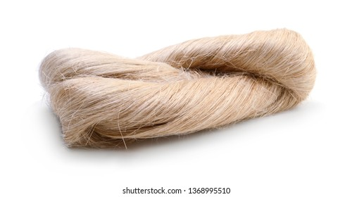 Raw flax fiber isolated on white background