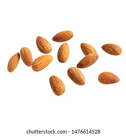 raw fly Almond  healthiest  with copyspace almonds nut isolated healthy food on white background.of the best brain foods.