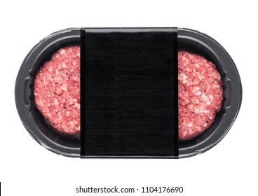 Raw fresh beef burgers in plastic tray on white background with black label