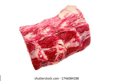Raw fresh beef chuck center roast isolated on white background