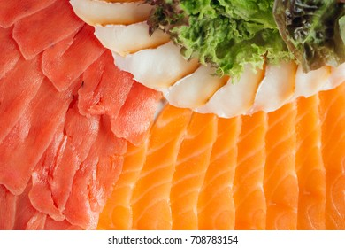 Raw fresh Carpaccio salmon in white plate - Japanese food style