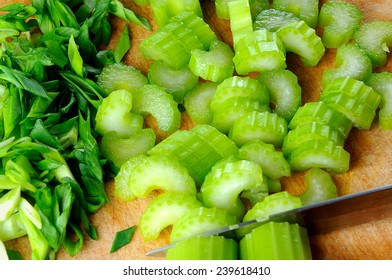 raw fresh celery with green onion